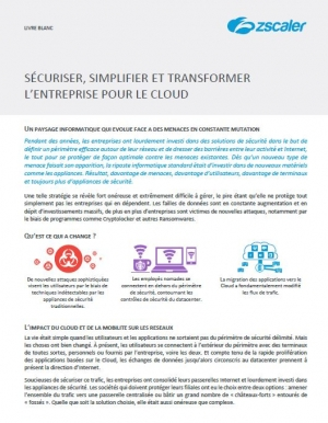 Sécuriser, simplifier et transformer l'entreprise pour le Cloud