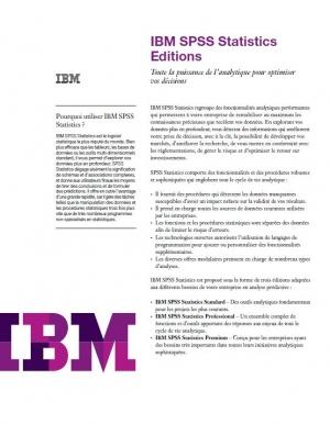 IBM  SPSS Statistics : Toute la puissance de l'analytique pour optimiser vos décisions