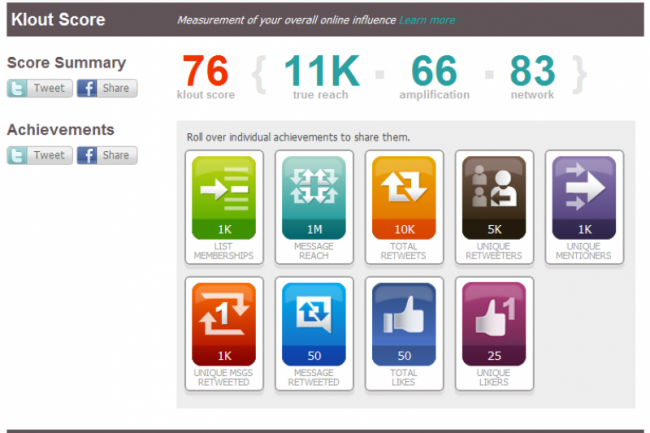 Klout Score Cr�dit Photo: D.R