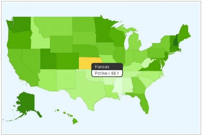 Google Fusion Tables (ci-dessus, une carte des Etats-Unis montrant le pourcentage de foyers ayant un acc�s Internet en 2007, par �tats, d'apr�s le bureau am�ricain du recensement)