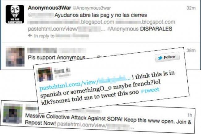 Exemples de tweets contenant le lien vis� Cr�dit Photo: Sophos