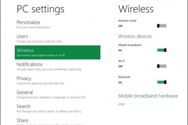 Le panneau r�seau de Windows 8 support le mode avion comme sur les iPhone