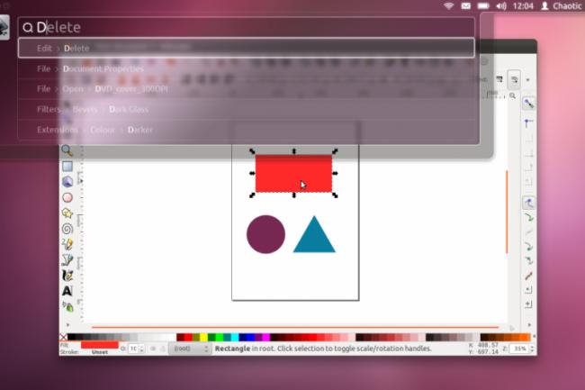 Une capture d'�cran de la saisie HuD dans Ubuntu 12.04 attendu en avril 2012