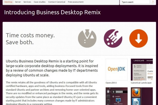 Page d'enregistrement pour Ubuntu Remix Business Dekstop  Cr�dit Photo: D.R