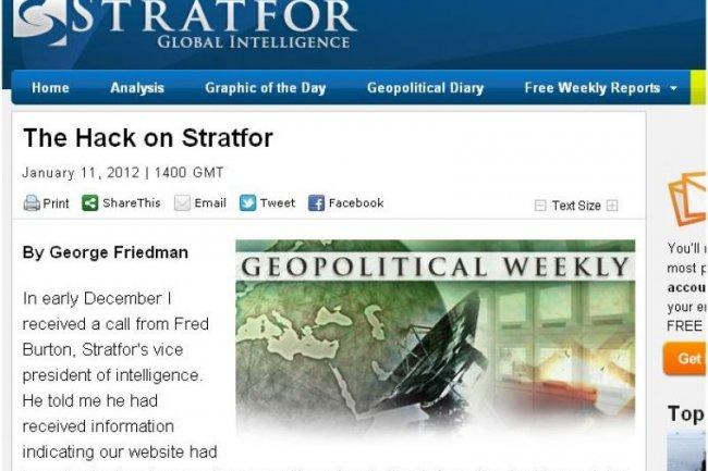 En janvier, George Friedman, le CEO de Stratfor, a reconnu le vol de donn�es.