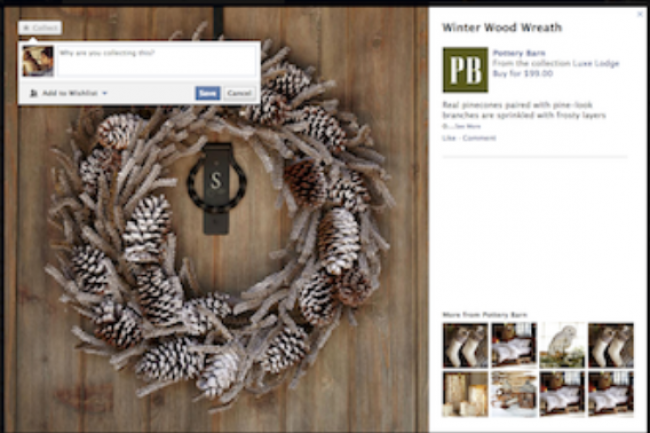 Le magasin de décoration Pottery Barn teste la fonction Collections de Facebook. Crédit : Pottery Barn