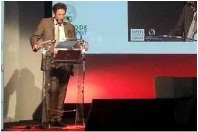 Jérôme Filippini, récemment nommé DG de la modernisation de l'Etat, ce matin sur l'OpenWorld Forum, à Paris (crédit : B.L.)