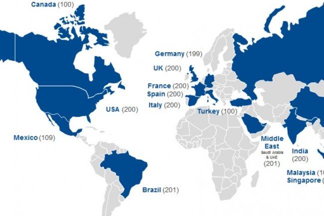 Les pays couverts par l'étude réalisée pour le compte de Kaspersky