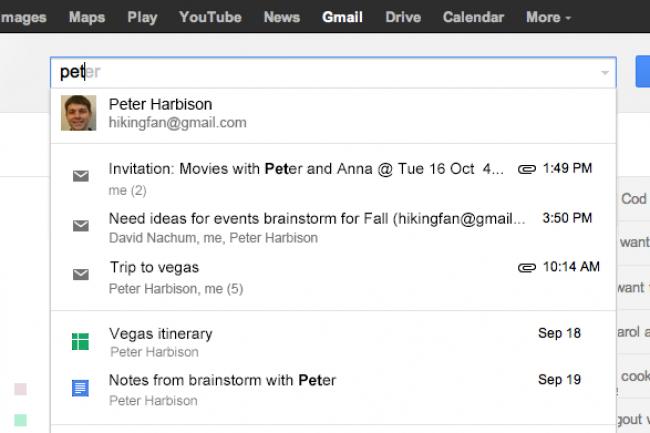 Google propose la recherche crois�e dans Gmail, Agenda et Drive