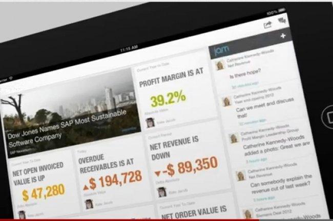 Avec SAP Financials OnDemand (ci-dessus), le directeur financier consulte des rapports multidimensionnels sur son iPad en contact avec d�autres �quipes via le r�seau social d�entreprise Jam.