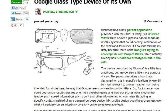 Microsoft travaillerait aussi sur des lunettes � r�alit� augment�e