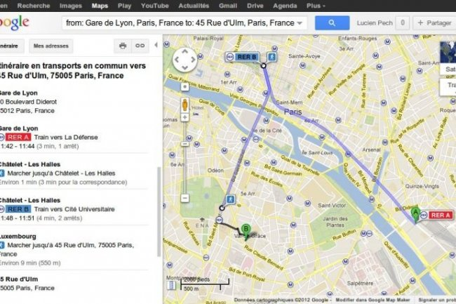 Google Maps descend dans le m�tro