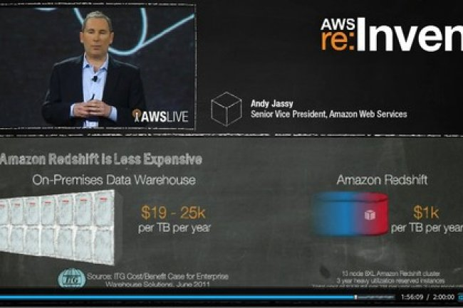 Andy Jassy, vice-pr�sident d'Amazon Web Services a pr�sent� le service de datawarehouse Redshift lors de la conf�rence AWS  re :Invent. Cr�dit : IDG NS