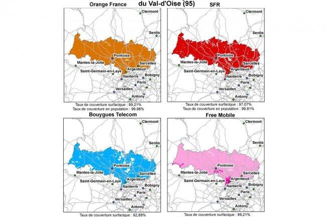 Cliquer sur l'image pour l'agrandir : Bilan au 1er juillet 2012 de la couverture et de la qualit� de service des quatre op�rateurs mobiles m�tropolitains (publi� par l'Arcep le 30 novembre 2012) - Ci-dessus la couverture 3G du d�partement du Val d'Oise, par op�rateur. (source : Arcep)