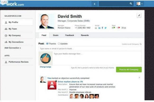 Salesforce.com investit dans les outils de réseaux sociaux, le marketing et les fonctions de gestion des RH (ci-dessus, son offre Work.com pour gérer la performance des commerciaux).