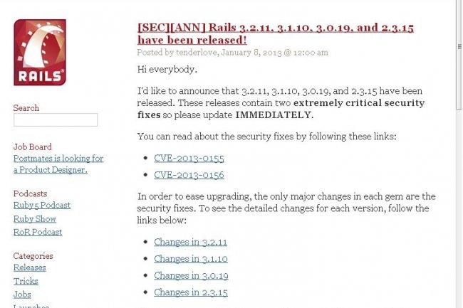 Le bulletin publi� le 8 janvier sur le site weblog.rubyonrails.org
