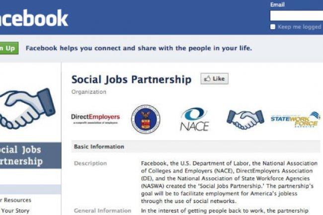 Aux Etats-Unis Facebook a nou� des partenaritats avec le Minsit�re du Travail et des associations d'employeurs.