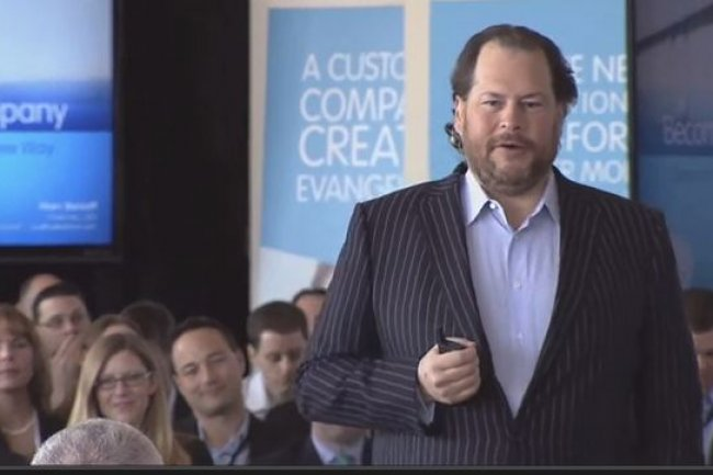 Marc Benioff, PDG de Salesforce.com, lors du Customer Tour qui s�est d�roul� cette semaine � Londres. Cr�dit: D.R