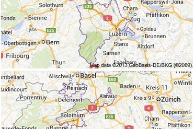 Les cantons suisses de Lucerne et Soleure s'inquiètent de l'utilisation d'Office 365 dans les écoles. (crédit illustration : Google Maps)