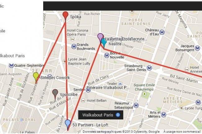 L'itinéraire de la Walkabout Paris démarre à midi le 11 octobre 2013 pour s'achever à 22 h.
