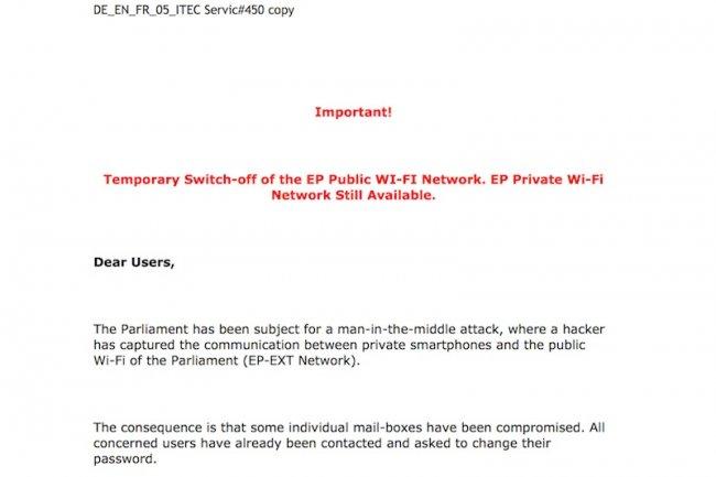 Si le réseau WiFi public du Parlement européne a été compromis, ce n'est pas le cas du WiFi privé.