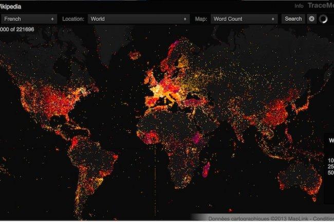 Une réprésentation géographique de l'usage de Wikipédia en français dans le monde.