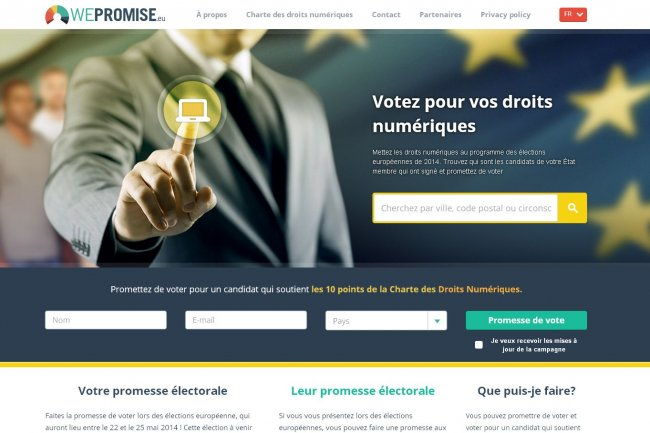 L'initiative WePromise, de l'European Digital Rights, propose de s'engager à voter pour un candidat qui soutient la Charte des Droits Numériques. (crédit : D.R.)