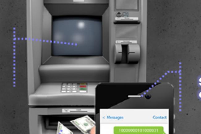 Des cybercriminels utilisent des SMS pour retirer de l'argent dans un distributeur. Cr�dit Photo: Symantec