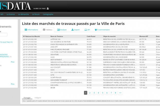 Parmi les jeux de donn�es du portail Open Data de Paris figure par exemple la liste des march�s de travaux pass�s par la Ville.