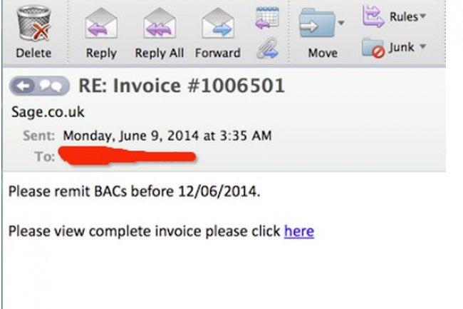 Le malware Dyreza, qui s'en prend aux utilisateurs de sites bancaires, est distribu� au travers de messages spam, certains pr�tendant contenir une facture. (Cr�dit illustration : PhishMe)