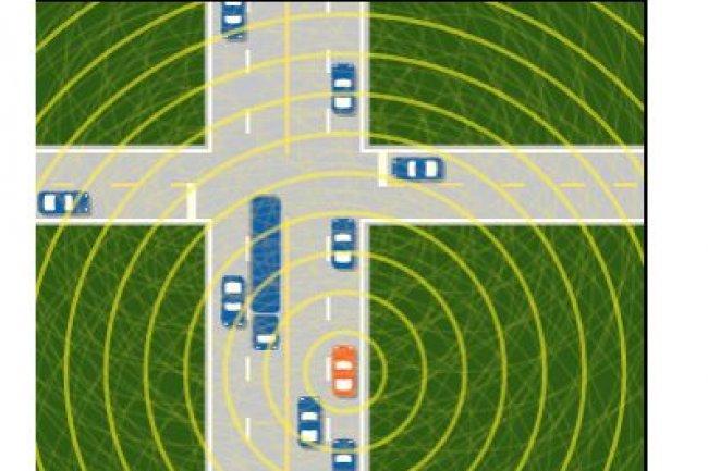 Aux Etats-Unis, la National Highway Traffic Safety Administration étudie une technologie de communication véhicule-à-véhicule qui permettrait d'assister les conducteurs par exemple à l'approche d'un carrefour sans visibilité. (crédit : NHTSA)