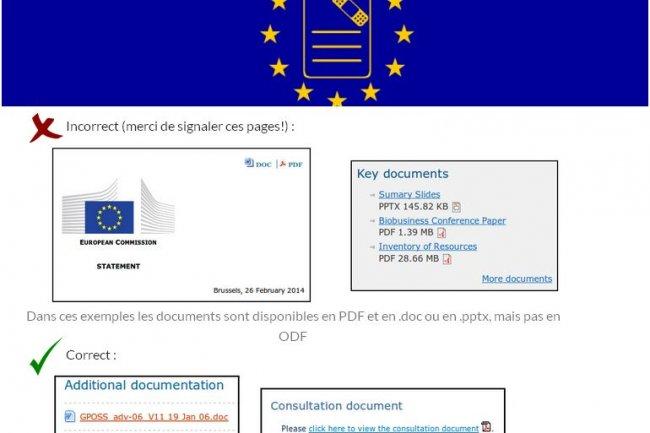 Sur le site de la campagne FixMyDocuments, il est propos� de signaler des pages web n'incluant pas la possibilit� de t�l�charger ou d'envoyer des documents au format ODF.