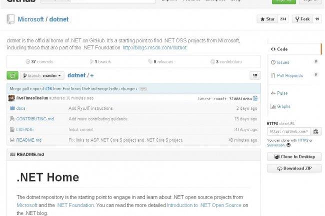 Les d�veloppeurs peuvent commencer � consulter les projets .Net Open Source sur http://github.com/Microsoft/dotnet.