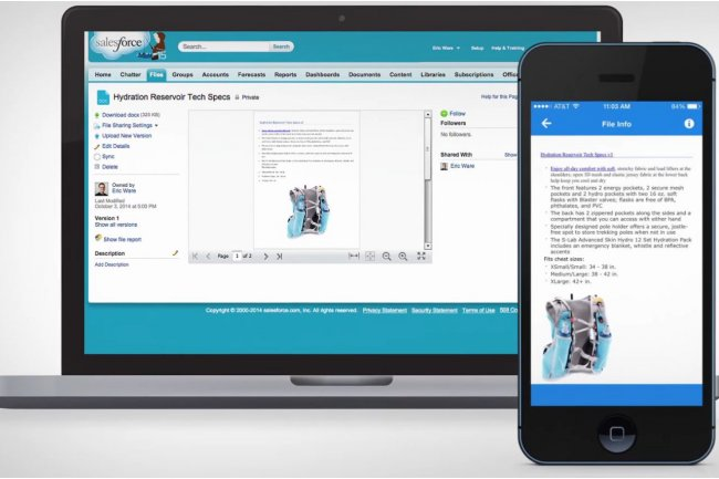 Avec Files Connect, les fichiers SharePoint sont index�s dans Salesforce et peuvent �tre visualis�s dans l'application de CRM, y compris depuis l'app mobile Salesforce1. (cr�dit : D.R.)