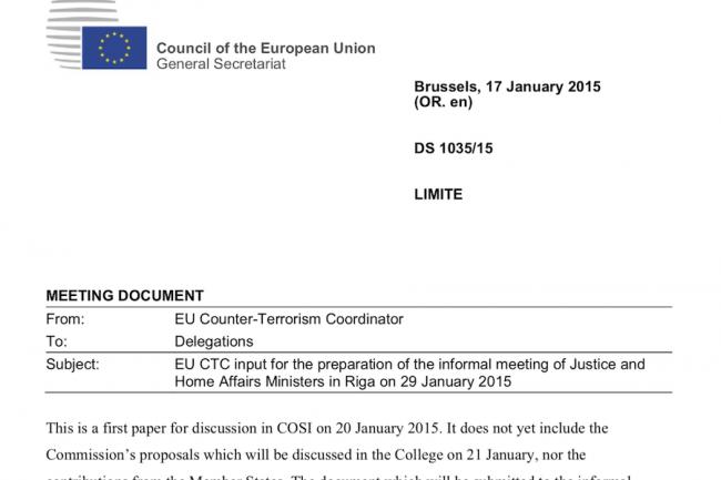 L'association de protection des droits civils Statewatch a divulgué un document rédigé par le coordinateur antiterroriste Gilles de Kerchove.