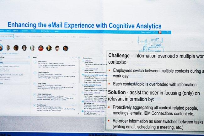 En apportant de l'analyse cognitive à un client mail, le lab israélien d'IBM permet à ce dernier de comprendre le contexte des mails et d'agir automatiquement en conséquence. (crédit : O.B.)