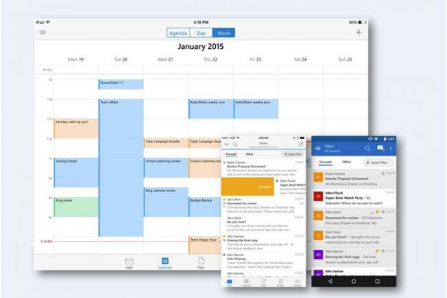 L'app Outlook pour iOS et Android intègre un calendrier.