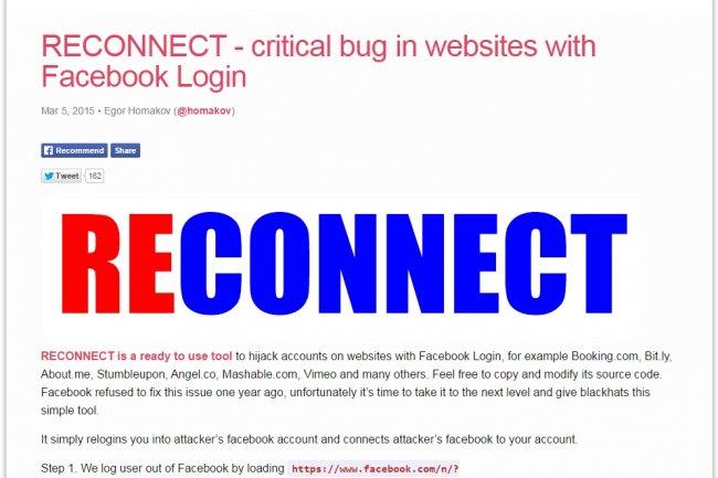 En publiant Reconnect, le chercheur en s�curit� Egor Homakov esp�re faire r�agir Facebook pour corriger la faille Facebook Login. (cr�dit : D.R.)