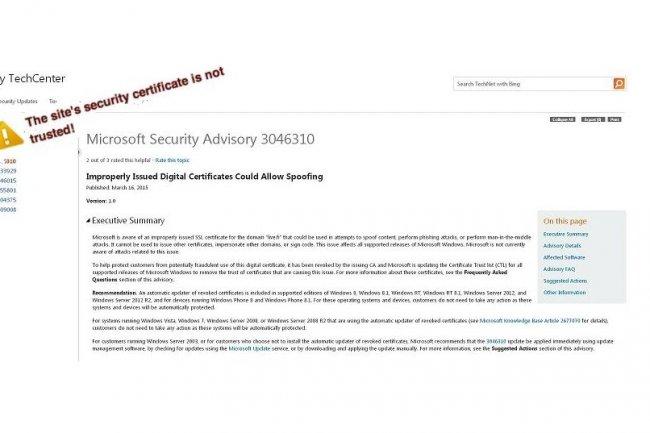 Dans son bulletin de s�curit� 3046310 publi� hier, Microsoft avertit qu'un certificat num�rique non autoris� circule. (cliquer sur l'image / cr�dit : D.R.)