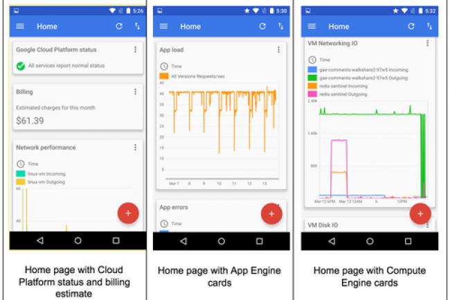 Cloud Console for Android propose des tableaux de bord adaptés aux terminaux mobiles pour suivre l'activité de ressources Google Cloud.