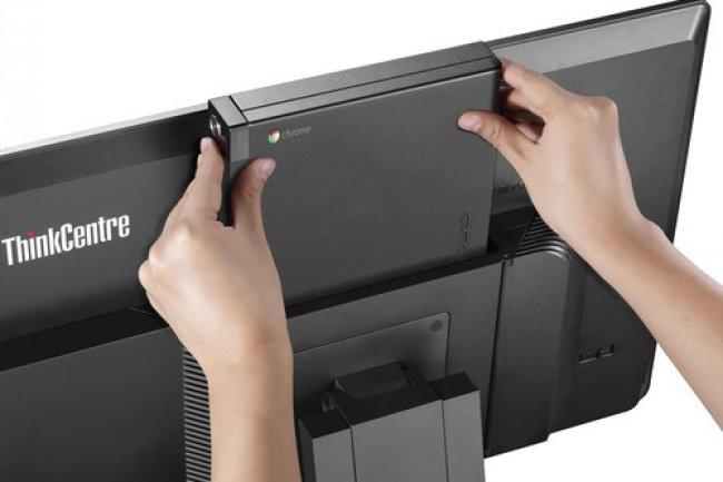 Le ThinkCentre Chromebox de Lenovo peut être converti en un tout-en-un avec l'écran Tiny-in-One. (Crédit : Lenovo)