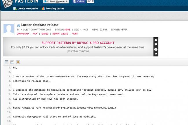 Le responsable du ransomware Locker a publié son mea culpa sur Pastebin.