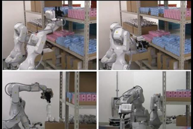 Le robot-magasinier conçu par Hitachi utilise des bras mécaniques fournis par Epson. (crédit : D.R.)