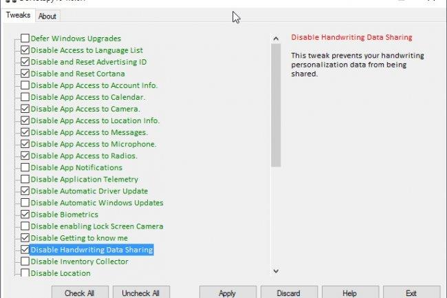 Avec DoNoSpy 10, on peut bloquer très facilement la collecte de données dans Windows 10. (crédit : D.R.)
