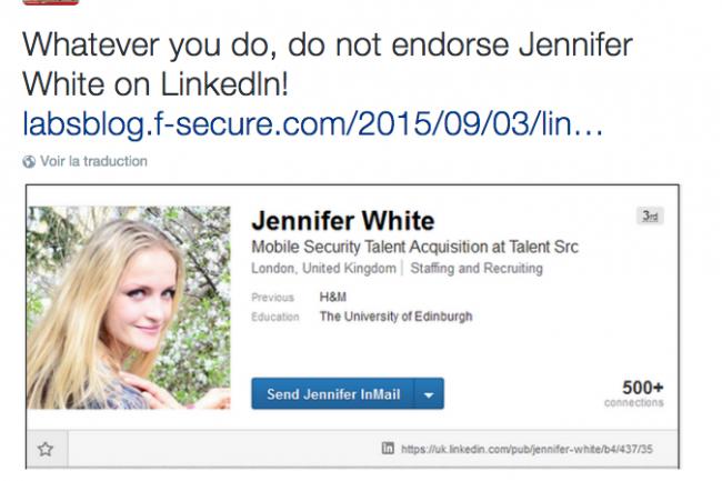 Le faux profil de Jennifer White a convaincu un grand nombre d'utilisateurs sur Linkedin.