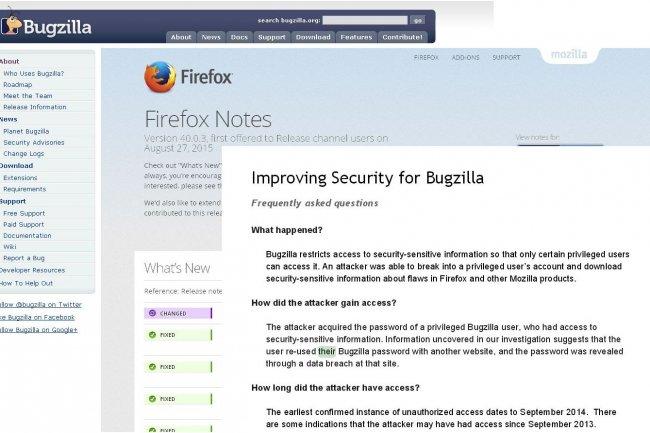 Mozilla prend des mesures pour sécuriser l'accès à Bugzilla après le vol d'informations de 53 failles de sécurité. (crédit : D.R.)