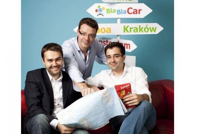 Les co-fondateurs de BlaBlaCar, Fr�d�ric Mazzella, CEO, Francis Nappez, CTO, et Nicolas Brusson, COO, ont r�alis� un tour de table de plus de 100 M�. (cr�dit : D.R.)