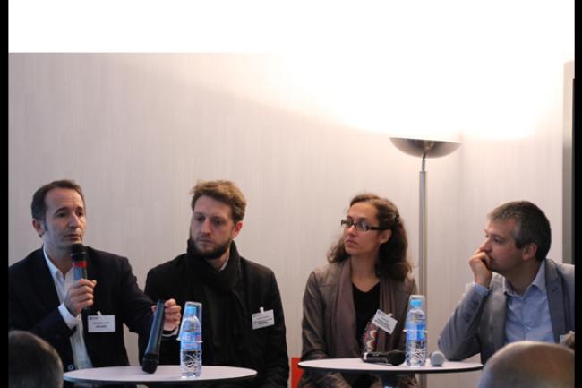 Christophe Chapet (DSI de Nantes Habitat et président ADN Ouest), Vincent Plançon (DSI et CTO de l'Ecole de la filière Numérique), Safia D'Ziri (directrice des Solutions Numériques du Conseil général de Loire Atlantique) et Maxime Baudry (DSI de Manitou) ont été les grands témoins de l'édition nantaise de l'IT Tour du jeudi 8 octobre. (crédit : D.R.)