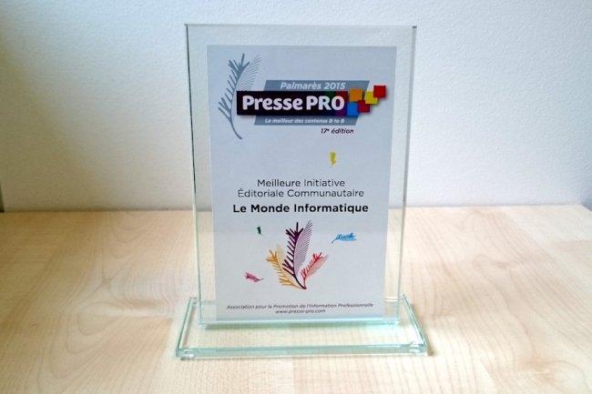 R�compens� par les professionnels de la profession, Le Monde Informatique a re�u hier le prix de la � Meilleure Initiative �ditoriale Communautaire�� pour le lancement de France Entreprise Digital. (cr�dit : D.R.)