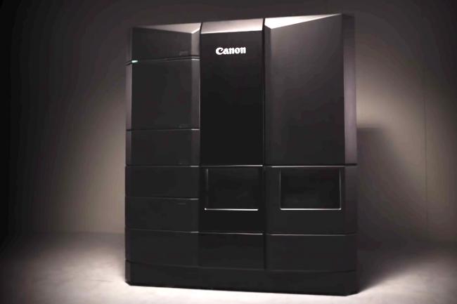 Prototype d'imprimante 3D développé par Canon. L'image est extraite de la vidéo promotionnelle diffusée par Canon en octobre 2015.